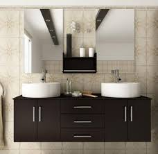 double basin vanity two mirrors and the shelf or a window in