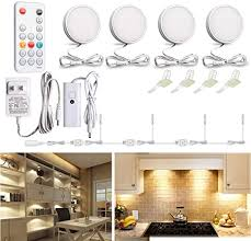 how to install led puck lights kitchen cabinets wobane led puck lights wired cabinet lighting kit with remote dimmable counter lighting for kitchen closet bookshelf shelf 700lm 2700k warm