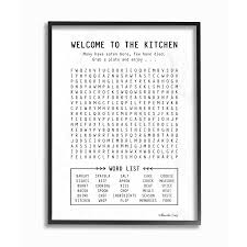 black and white kitchen framed pictures stupell industries black and white kitchen crossword puzzle sign framed 14 in h x 11 in w kitchen wood print