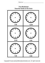 drawing hands on the clock worksheets