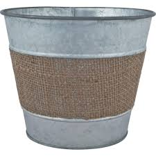 Buy Planters by Pride Garden Products 9 In Tin Black Zinc Planter With Jute Band