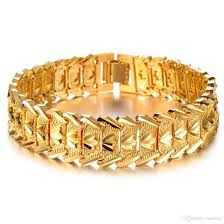 gold plated bracelet chain images 2018 new fashion 18k gold plated wide men 39 s cuff link bracelet jpg