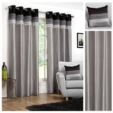 Black And Silver Curtains Seattle Faux Silk Black Silver Eyelet Lined Curtains 4yh Textiles