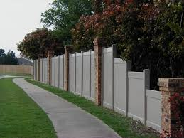 vinyl privacy fence love the brick columns outdoor ideas