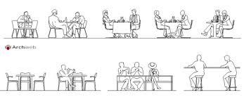 persona seduta dwg persone sedute al tavolo al bar o ristorante