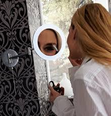hib leo round led illuminated magnifying bathroom mirror