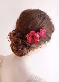 bridesmaid hair accessories raspberry pink hair pins bright pink flower hair accessories