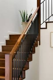 stair railing constructed of painted galvanized gas pipe j