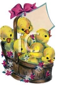vintage easter baskets vintage easter ducklings in a basket royalty free clipart image