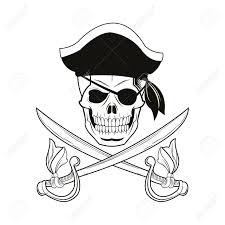 skull sword pirate marine nautical icon black