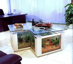 Home Decor Brown Leather Sofa Creative Idea Interior Decor With L Shaped Clear Glass Fish Tank