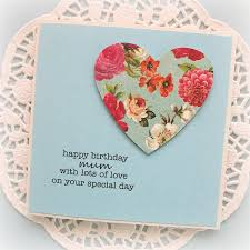 birthday personalised card for her vintage floral heart happy