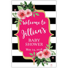 baby shower welcome sign black and white striped floral welcome sign for baby shower