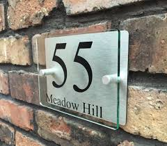 plaque numero rue moderne maison signe plaque porte rue nombre verre effet acrylique