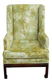 Upholstered Wingback Chair Vintage U0026 Used Green Wingback Chairs Chairish
