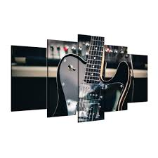 5 piece canvas art wall art guitar instrument painting picture