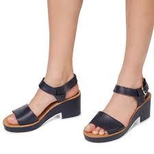 monoprix sandales en cuir noir chaussures femme classique