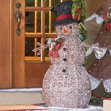 frosted snowman lighted outdoor decoration