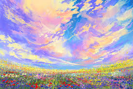 colorful flowers in field under beautiful clouds landscape