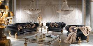Chesterfield Sofa Set Royal Black And Gold Charming Living Room Furniture Sofa Set