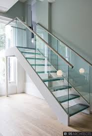 Glass Stairs Design Astounding Chrome Iron Handrail Also Glass Staircase Banister As