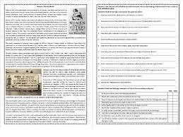 women u0027s history month reading comprehension worksheet esl ell