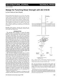design for punching shear strength with aci 318 95 strength of