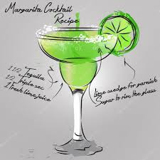 margarita cocktail illustration with hand drawn margarita cocktail u2014 stock vector