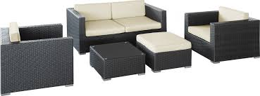 malibu collection 5 piece wicker outdoor sectional sofa set