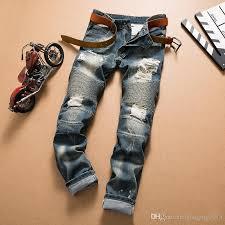Mens Destroyed Skinny Jeans 2017 2017 Mens Destroyed Hole Blue Motorcycle Biker Jeans Men