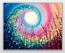 so cool rainbow swirled sun colorful tree painting easy beginner painting idea