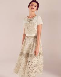 embellished lace wedding dress cream ss17 tie the knot ted