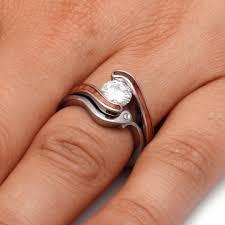 wooden wedding rings moissanite wood wedding ring set in titanium unique bridal set