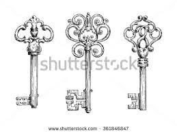 elegant vintage skeleton keys sketches bows stock vector 361846847
