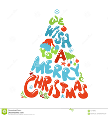 we wish you a merry tree design stock vector image