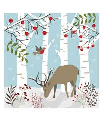 woodland reindeer christmas card pack of 10 cancer research uk