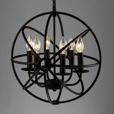 Orb Chandelier Industrial Orb Chandelier In Wrought Iron Style With Globe Cage