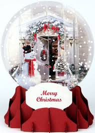 holiday door pop up snow globe christmas card by up with paper