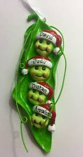 peas in a pod ornament pea pod family with 8 peas personalized christmas ornament