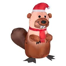 gemmy airblown holiday beaver with santa hat and scarf inflatable