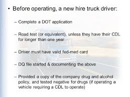 the driver qualification files the department of transportation