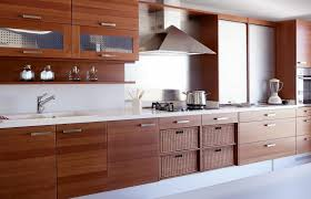 Kitchen Cabinet Stainless Steel Walnut Kitchen Cabinets In The Island With Modern Knobs And
