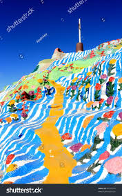 salvation mountain colorful artificial mountain north stock photo