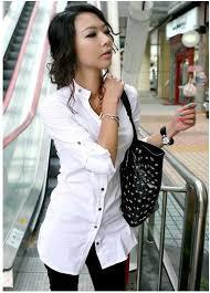 new white elegance quality office women slim dress shirt