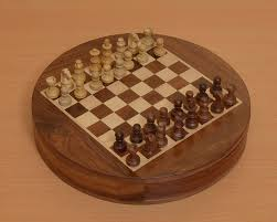 shop for the round magnetic chess set in sheesham wood online