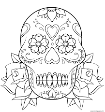 sugar skull and roses 2 calavera coloring pages printable