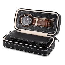 Pu leather watches zipper box wristwatch organizer 2 grids travel
