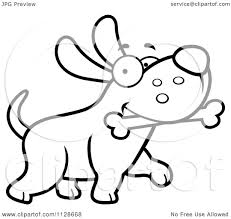 cartoon clipart of an outlined happy dog strutting with a bone