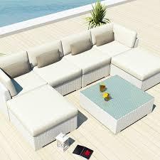 amazon com uduka outdoor sectional patio furniture white wicker