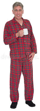 middle age pajamas morning coffee isolated stock